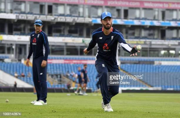 James Vince of England takes part in a fielding drill during a net session at Headingley on July 16 2018 in Leeds England