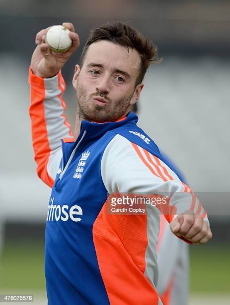 James Vince of England takes part in a fielding drill during a nets session at Old Trafford on June 22 2015 in Manchester England