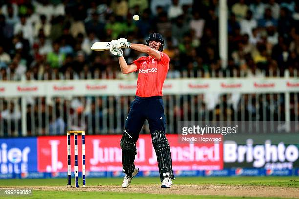 James Vince of England watches a high no ball go over his head during the 3rd International T20 match between Pakistan and England at Sharjah Cricket...
