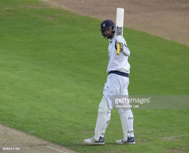 James Vince of Hampshire acknowlegdes the applause from the crowd after he scores 50 runs during the Specsavers County Championship Division One...