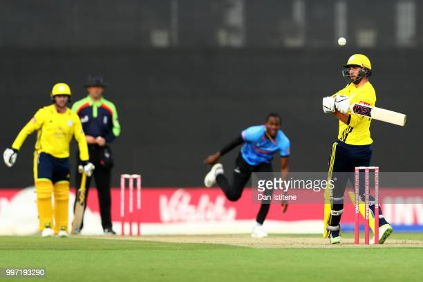 James Vince of Hampshire bats during the Vitality Blast match between Hampshire and Sussex Sharks at The Ageas Bowl on July 12 2018 in Southampton...