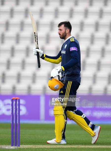 James Vince of Hampshire celebrates his century during the Royal London One Day Cup match between Hampshire and Gloucestershire at The Ageas Bowl on...