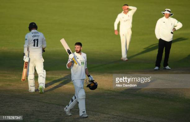 James Vince of Hampshire celebrates reaching his century during Day Two of The Specsavers Division One County Championship match between Hampshire...