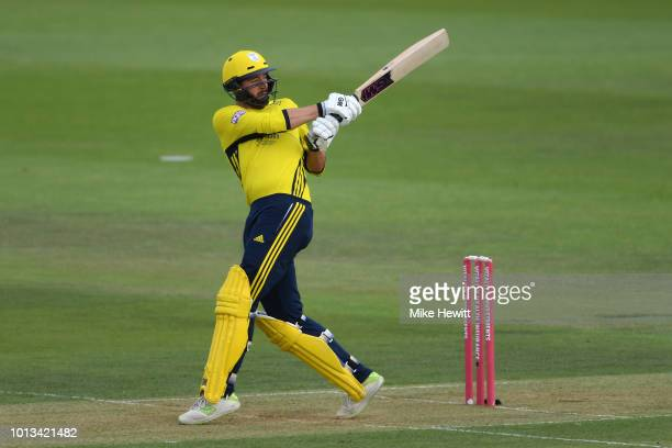 James Vince of Hampshire hits out during the Vitality Blast match between Hampshire and Somerset at The Ageas Bowl on August 8 2018 in Southampton...