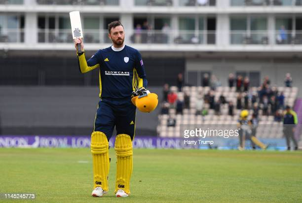 James Vince of Hampshire leaves the field after being dismissed for 190 during the Royal London One Day Cup match between Hampshire and...