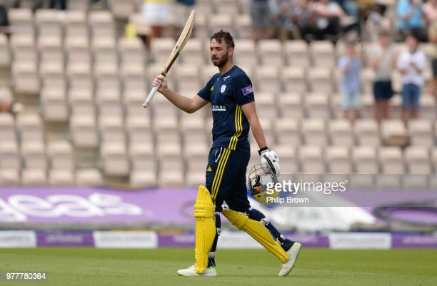 James Vince of Hampshire leaves the field after being dismissed during the Royal London OneDay Cup SemiFinal match between Hampshire and Yorkshire...