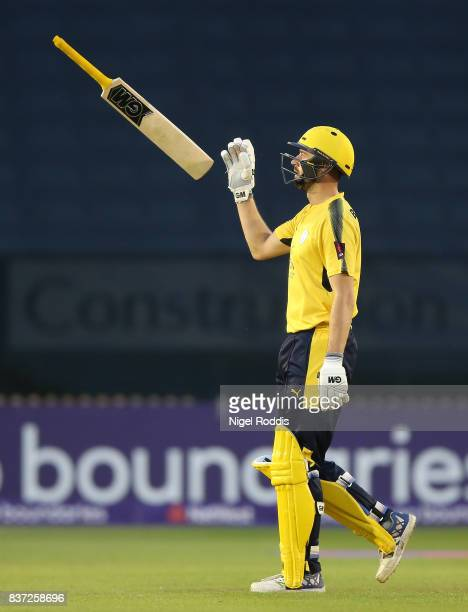 James Vince of Hampshire reacts after loosing his wicket during the NatWest T20 Blast at The 3aaa County Ground on August 22 2017 in Derby England