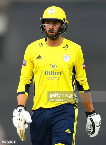 James Vince of Hampshire reacts after losing his wicket during the Vitality Blast match between Hampshire and Sussex Sharks at The Ageas Bowl on July...