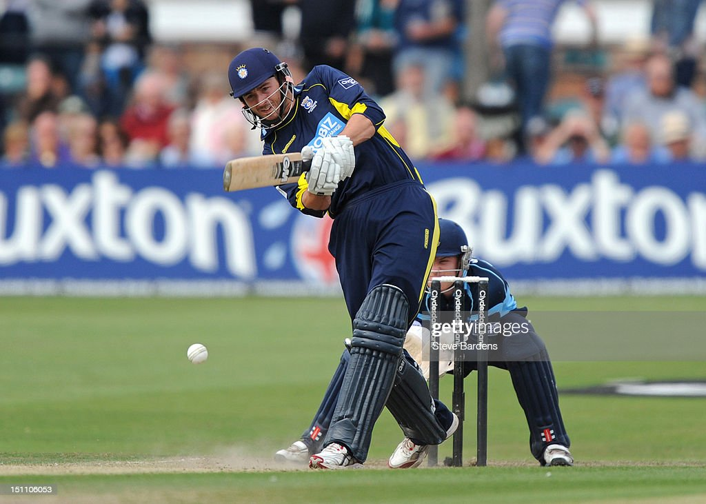 James Vince of Hampshire Royals plays a shot during the Clydesdale Bank Pro40 semi final match between Sussex and Hampshire at the Probiz County Ground on September 1, 2012 in Hove, England.
