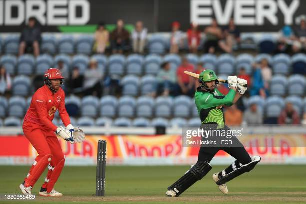 James Vince of Southern Brave batting as Jonny Bairstow of Welsh Fire looks on during The Hundred match between Welsh Fire and Southern Brave at...