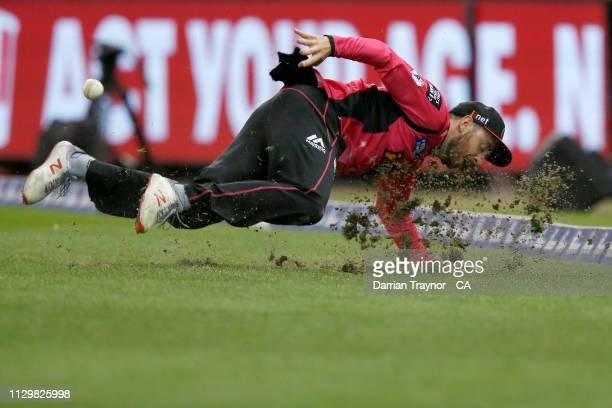 James Vince of the Sydney Sixers saves a boundary during the Big Bash League semi final between the Melbourne Renegades v Sydney Sixers at Marvel...