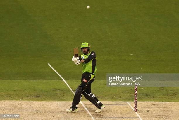 James Vince of the Thunder bats during the Big Bash League match between the Melbourne Stars and the Sydney Thunder at Melbourne Cricket Ground on...