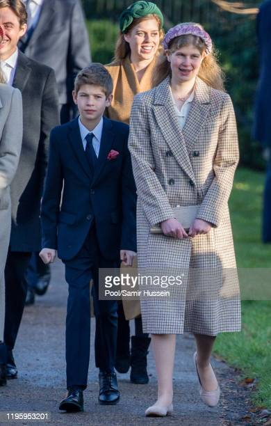 James Viscount Severn and Lady Louise Windsor attend the Christmas Day Church service at Church of St Mary Magdalene on the Sandringham estate on...
