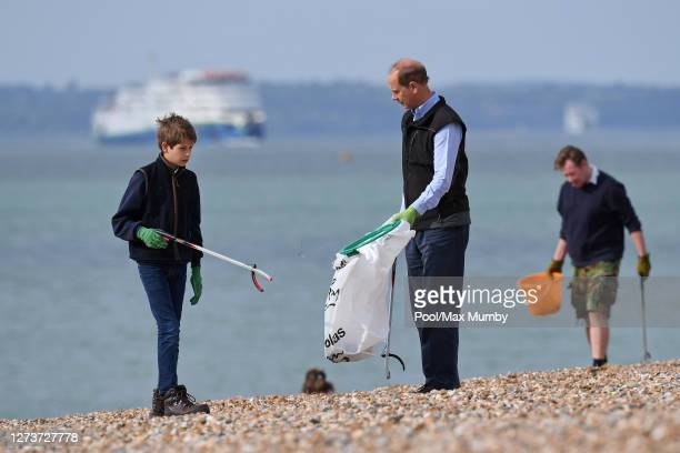 James Viscount Severn and Prince Edward Earl of Wessex take part in the Great British Beach Clean on Southsea beach on September 20 2020 in...