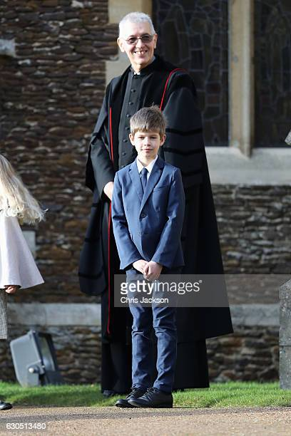 James Viscount Severn attends a Christmas Day church service at Sandringham on December 25 2016 in King's Lynn England