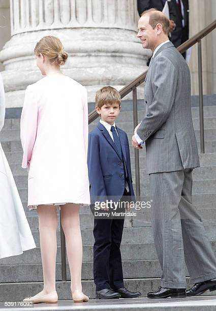 James Viscount Severn Lady Louise Windsor and Prince Edward Earl of Wessex attend a National Service of Thanksgiving as part of the 90th birthday...