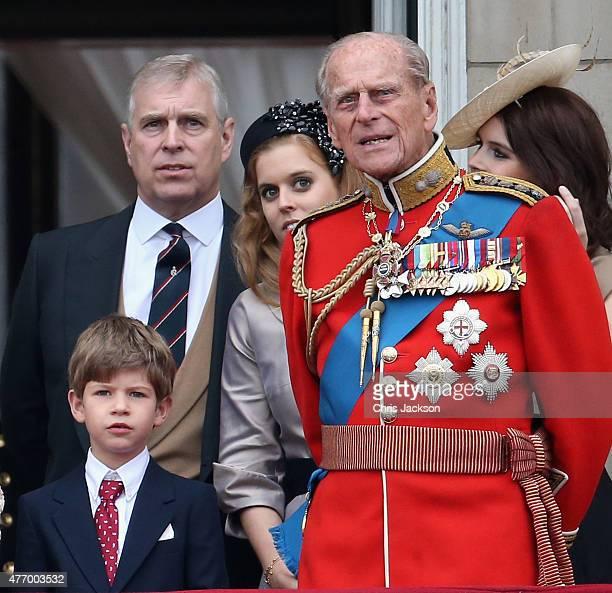 James Viscount Severn Prince Andrew Duke of York Prince Philip Duke of Edinburgh and Princess Eugenie and Princess Beatrice on the balcony of...