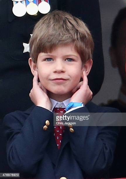 James, Viscount Severn waits for the fly-past on the balcony of Buckingham Palace during the Trooping the Colour on June 13, 2015 in London, England....