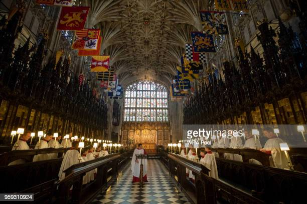 James Vivian Director of Music at St George's Chapel in Windsor directs the St George's Chapel Choir during a rehearsal before evensong and ahead of...