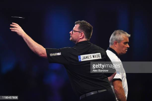 James Wade of England in action against Steve Beaton of England in his Third Round match during Day Ten of the 2020 William Hill World Darts...