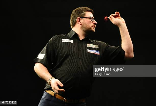 James Wade throws during Night Five of the Betway Premier League Darts at Westpoint Arena on March 2 2017 in Exeter England