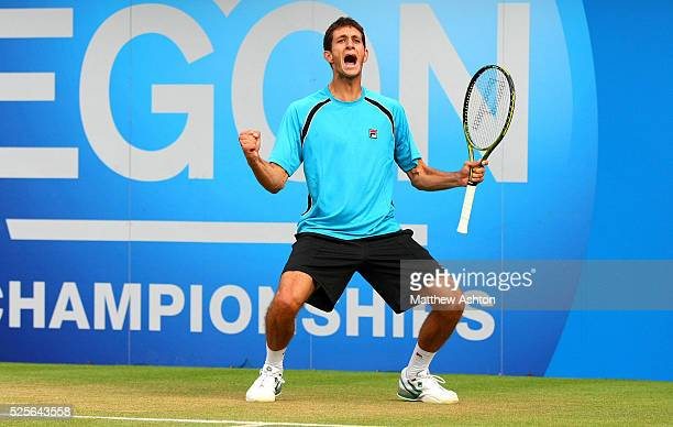James Ward of Great Britain celebrates on match point at Queens, 2011