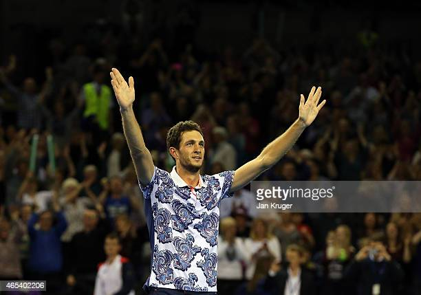 James Ward of The Aegon GB Davis Cup Team celebrates the win against John Isner of the United States during Day 1 of the Davis Cup match between GB...