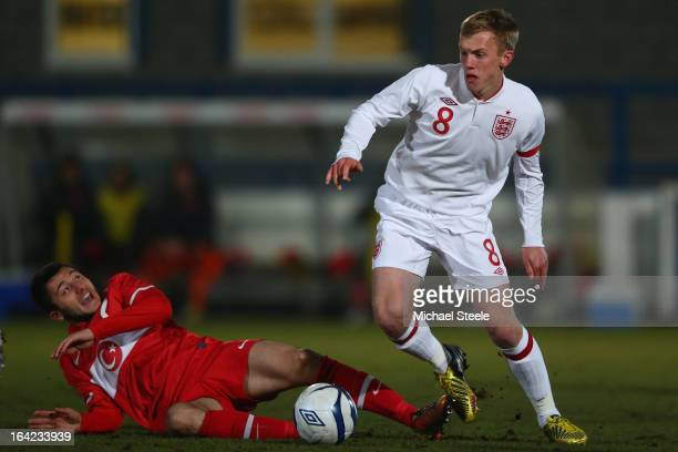 James Ward Prowse of England evades the challenge from Enver Cenk Sahin of Turkey during the England U19's versus Turkey U19's International match at...