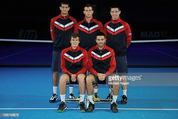 James Ward team captain Leon Smith Jamie Baker Jamie Murray and Colin Fleming of the GB team pose during the draw for the Davis Cup tie between Great...