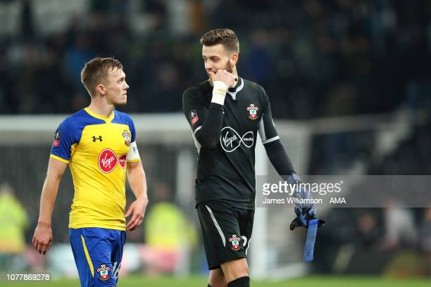 James WardProwse and Angus Gunn of Southampton during the FA Cup Third Round match between Derby County and Southampton FC at Pride Park on January 5...