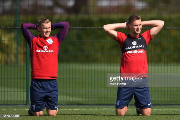 James WardProwse and Ben Gibson of England run through drills during the England training session at the Tottenham Hotspur Training Centre on March...