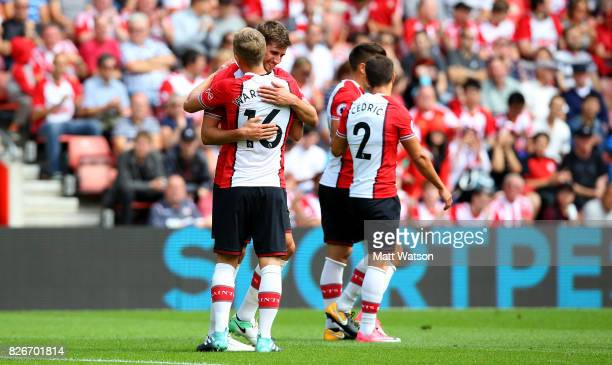 James WardProwse and Jack Stephens during the preseason friendly between Southampton FC and Sevilla at St Mary's Stadium on August 5 2017 in...