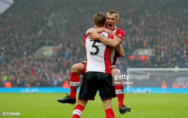 James WardProwse and Jack Stephens of Southampton FC celebrate during the Premier League match between West Bromwich Albion and Southampton at The...