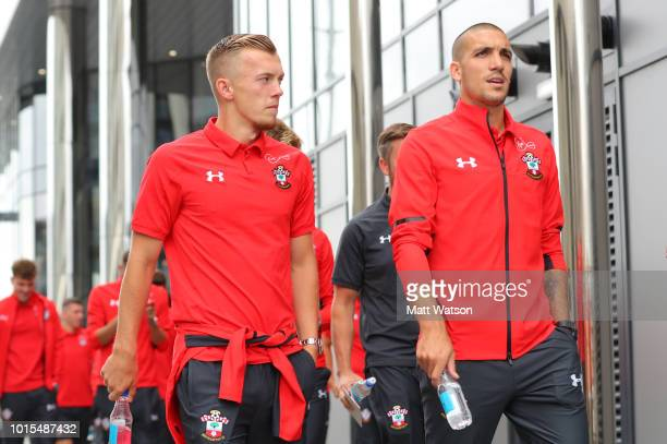 James WardProwse and Oriol Romeu of Southampton on a team walk ahead of the Premier League match between Southampton FC and Burnley FC at St Mary's...