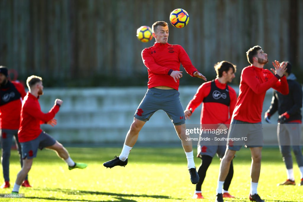 James Ward-Prowse (middle) during a Southampton FC training session at Staplewood Complex on December 28, 2017 in Southampton, England.