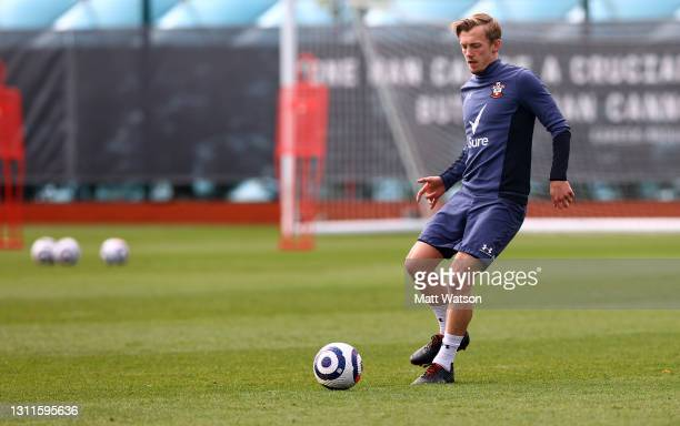 James Ward-Prowse during a Southampton FC training session at the Staplewood Campus on April 08, 2021 in Southampton, England.