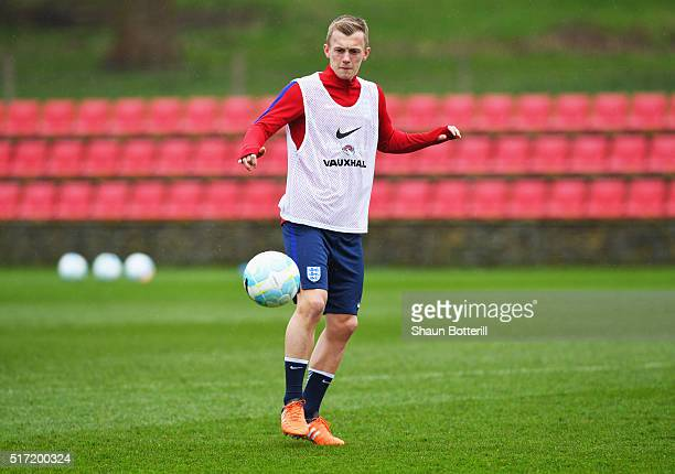 James WardProwse in action during an England U21 training session ahead of their UEFA U21 European Championship qualifier against Switzerland at St...