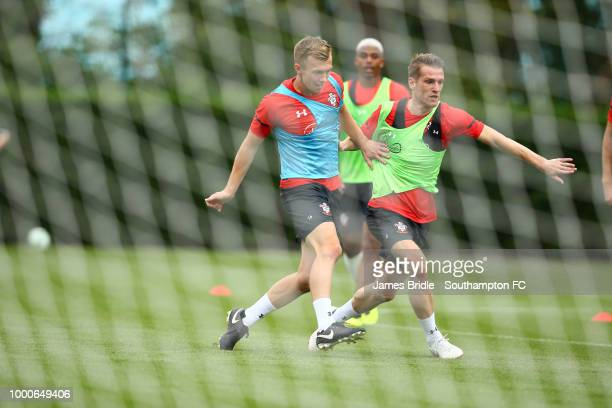 James WardProwse Mario Lemina and Steven Davis during a Southampton FC training session at Staplewood Complex on July 17 2018 in Southampton England