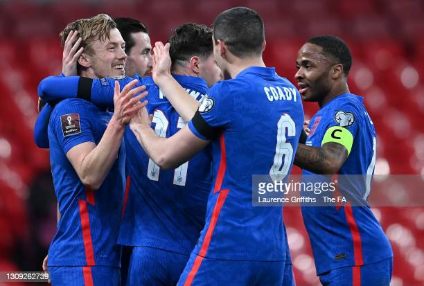 James Ward-Prowse of England is congratulated on scoring his sides first goal by Conor Coady, Mason Mount, Ben Chilwell, and Raheem Sterling during...