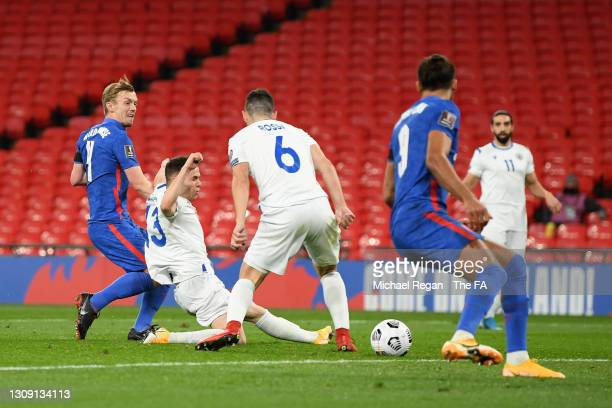James Ward-Prowse of England scores his team's first goal during the FIFA World Cup 2022 Qatar qualifying match between England and San Marino at...