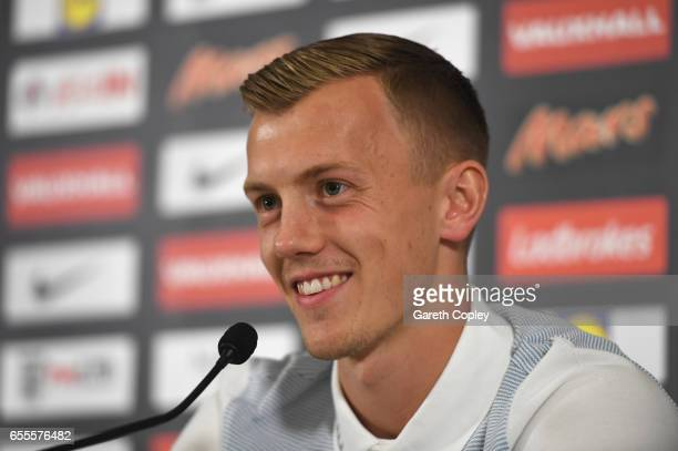 James WardProwse of England smiles during a press conference at St Georges Park on March 20 2017 in BurtonuponTrent England