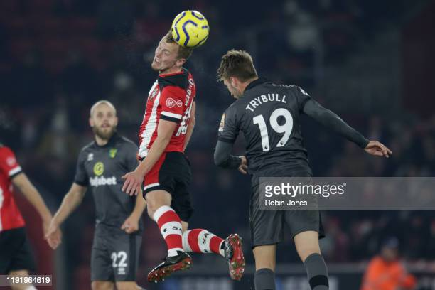 James Ward-Prowse of Southampton and Tom Trybull of Norwich City during the Premier League match between Southampton FC and Norwich City at St Mary's...