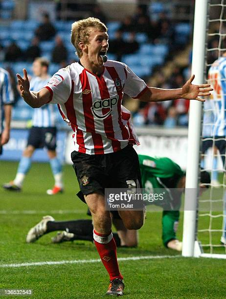 James WardProwse of Southampton celebrates after scoring a goal during the FA Cup 3rd round match between Coventry City and Southampton at the Ricoh...