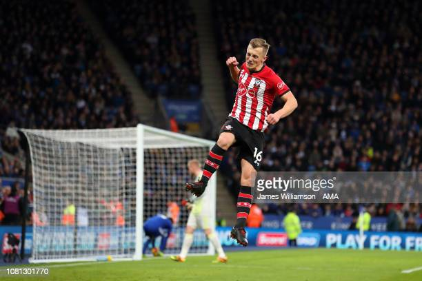 James WardProwse of Southampton celebrates after scoring a goal to make it 10 during the Premier League match between Leicester City and Southampton...