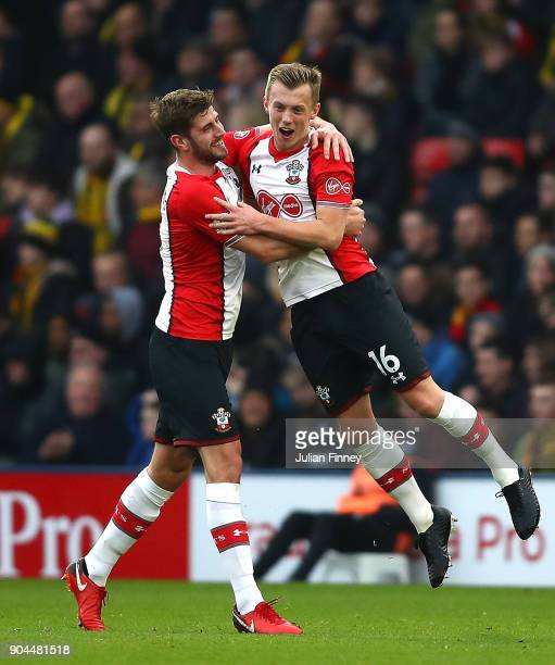 James WardProwse of Southampton celebrates after scoring his sides first goal with Jack Stephens of Southampton during the Premier League match...