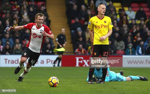 James WardProwse of Southampton celebrates after scoring his sides second goal during the Premier League match between Watford and Southampton at...