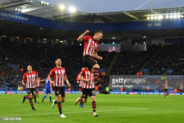 James WardProwse of Southampton celebrates after scoring his team's first goal during the Premier League match between Leicester City and Southampton...