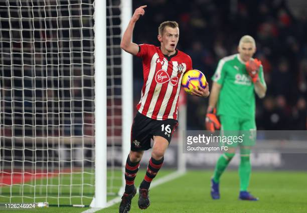 James WardProwse of Southampton celebrates after scoring his team's first goal during the Premier League match between Southampton FC and Crystal...