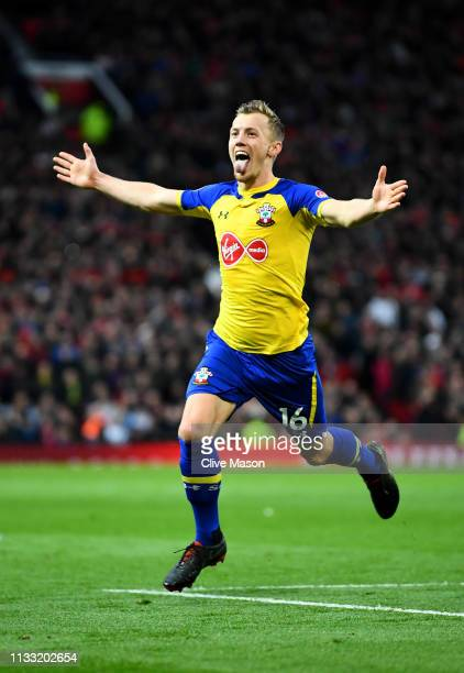 James WardProwse of Southampton celebrates after scoring his team's second goal during the Premier League match between Manchester United and...