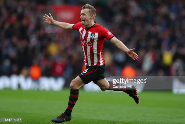 James WardProwse of Southampton celebrates after scoring his team's second goal during the Premier League match between Southampton FC and Tottenham...